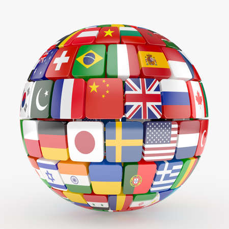 3d illustration of flags collection sphere 版權商用圖片