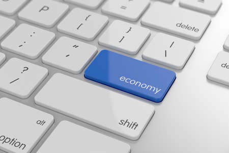 wealth management: Economy button on keyboard with soft focus