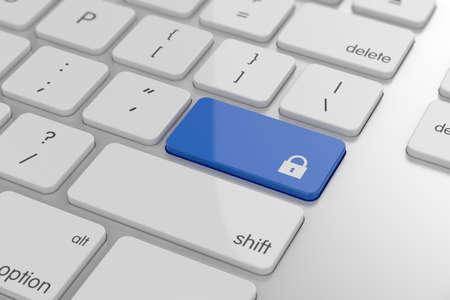 3d illustration of lock concept button on keyboard with soft focus