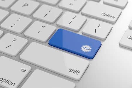 tecla enter: Ilustraci?n 3D de bot?n STOP icono en el teclado con enfoque suave Foto de archivo