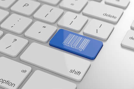 3d render of barcode sign button with soft focus photo
