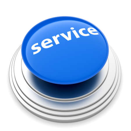 technical support: 3d illustration of service push button concept. Isolated on white backgroud