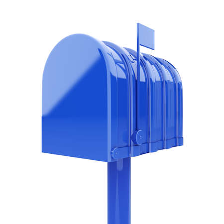 mailman: 3d illustration of closed blue mailbox isolated  Stock Photo