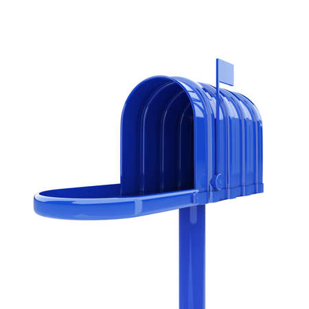 3d illustration of opened blue mailbox isolated