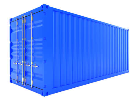 container port: 3d render of blue cargo container isolated on white background