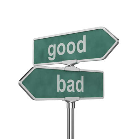decisions: 3d render of good and bad concept roadsign board isolated on white background Stock Photo