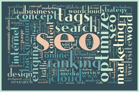 SEO concept related words in tag cloud Vector