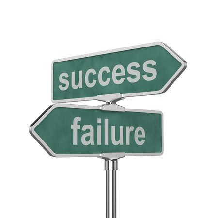 failure sign: 3d render of success and failure concept roadsign board isolated on white background