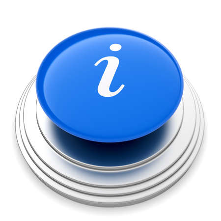 info button: 3d illustration of Info sign button isolated on white background Stock Photo