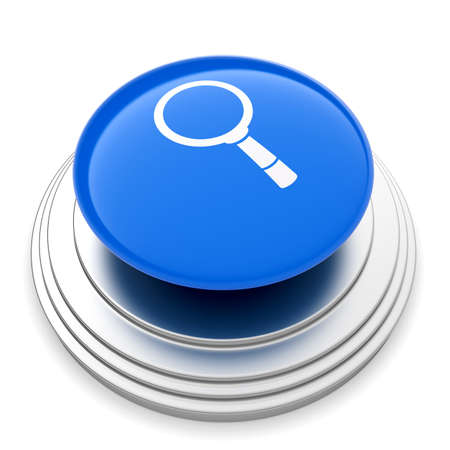 3d illustration of magnifier glass sign button isolated. Search concept