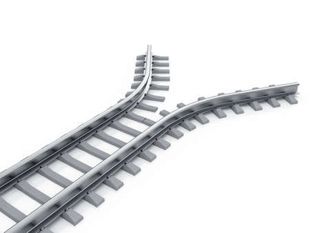 diverging: 3d render of railway isolated. End of the road concept Stock Photo