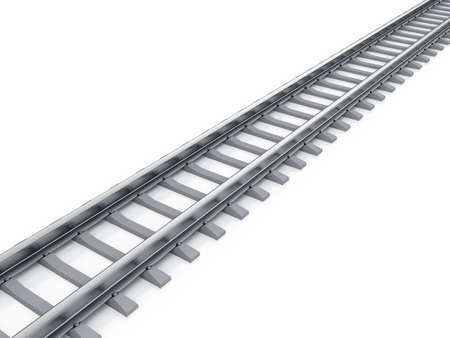 railway track: 3d render of railway isolated on white