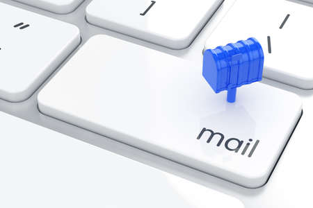 Mail box on the computer keyboard. Email concept