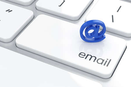 3d render of  at simbol icon on the keyboard. E-mail concept
