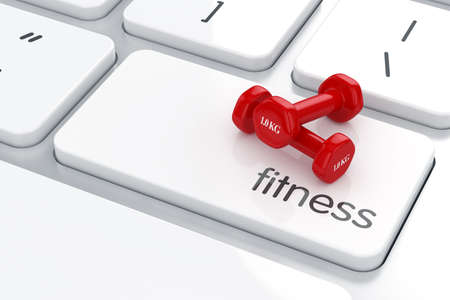 3d render of red dumbbells icon on the keyboard. Health life concept photo