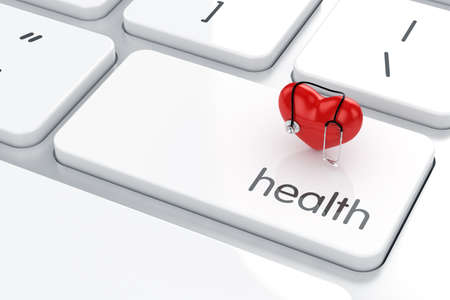 3d render of heart shape with stethoscope icon on the keyboard. Health life concept photo