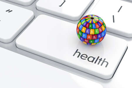 b ball: 3d render of vitamin sphere icon on the keyboard. Health life concept