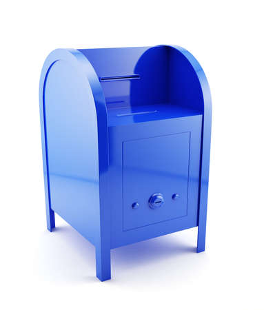 metal mailbox: 3d illustration of blue mailbox isolated  Stock Photo