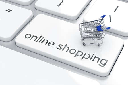 3d render of shopping cart icon on the keyboard. Online shopping concept photo
