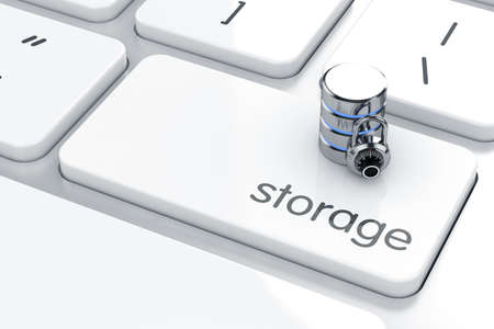 3d render of storage icon on the keyboard. Safe storage concept photo