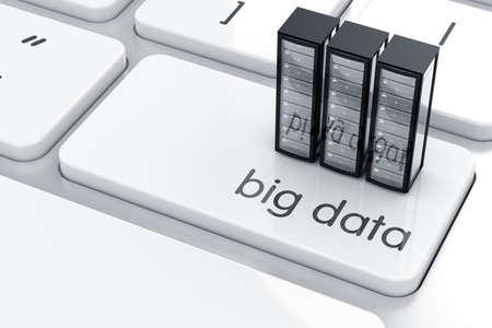 tecnologia informacion: 3d de servidores icono simbol en el teclado. Concepto de datos grande