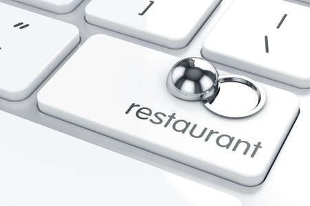 are hidden: 3d render of cloche icon on the keyboard. Restaurant concept  Stock Photo