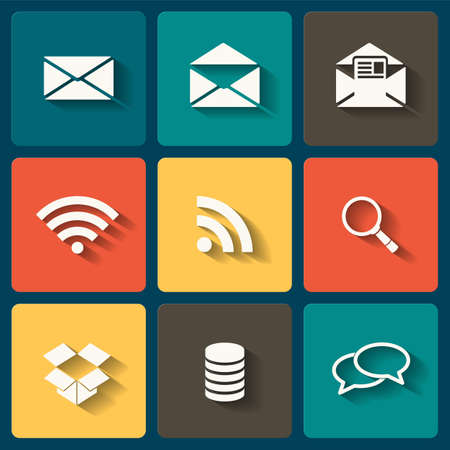 Online Flat icons for Web and Mobile Applications Stock Vector - 23798610