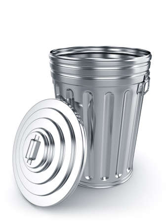 wastepaper basket: 3d render of opened trash can isolated on white background Stock Photo