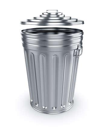 cesto basura: 3d de abrir basurero aislado en fondo blanco
