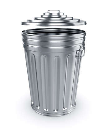 trash basket: 3d render of opened trash can isolated on white background Stock Photo