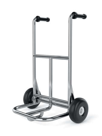 Empty metal hand truck isolated on white background  photo