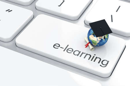 tutorial: 3d render of graduation cap with Earth icon on the keyboard. Education concept  Stock Photo