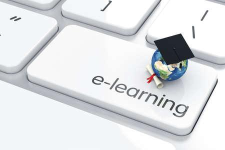 vzdělávací: 3d render promoce čepici s ikonou Země na klávesnici. Koncepce vzdělávání