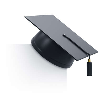 graduation cap and diploma: 3d render of graduation cap and blank board. Isolated on white background