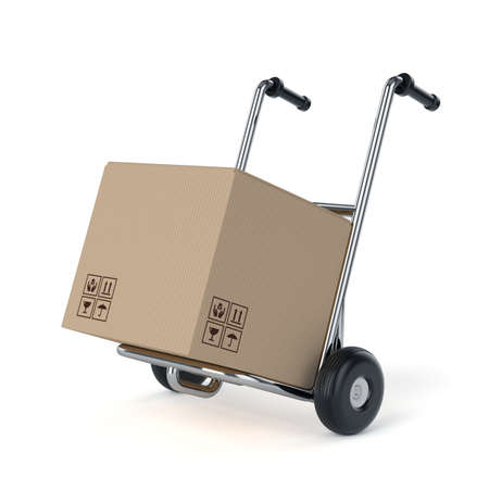 Metal hand truck with cardboard package boxes. Isolated on white background  photo