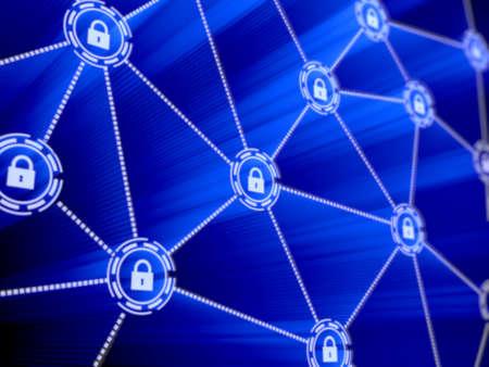 컴퓨터 데이터 암호화의 개념입니다. 데이터 보호. 보안 강화 스톡 콘텐츠