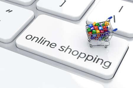 쇼핑 카트는 컴퓨터 키보드입니다. 온라인 쇼핑 개념 스톡 콘텐츠