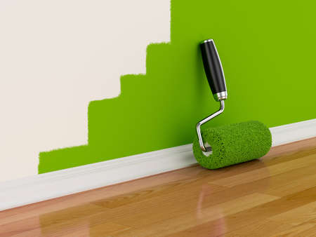 covering: 3d render of roller brush with part painted wall. Renovation concept