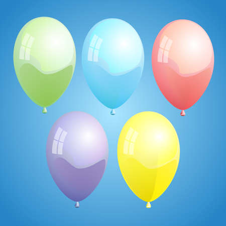 Vector illustration of colorful ballons on blue background illustration