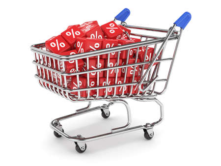 3d render of shopping cart with percent boxes. Discount concept