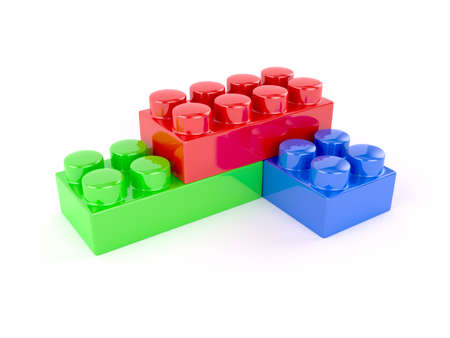 3d render of plastic toy blocks on white background photo