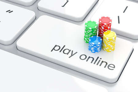 3d render of casino chips icon on the keyboard. Online games concept  photo