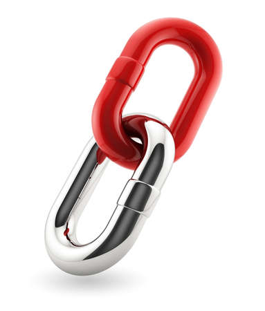赤とクロームの鎖の 3 d レンダリング。事業コンセプト 写真素材