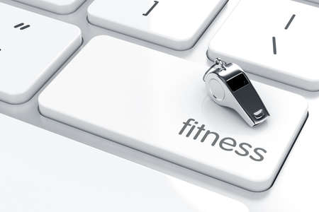 dumbell: 3d render of whistle icon on the keyboard. Health life concept  Stock Photo