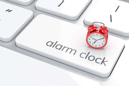 changing: 3d render of Enter button with alarm clock. Timeline concept Stock Photo