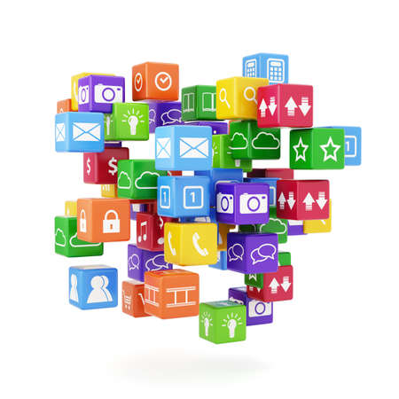 application icons: 3d illustration of software concept. Icons isolated on white background  Stock Photo