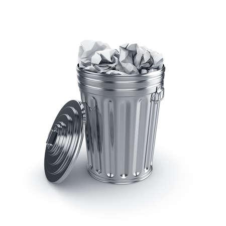 cesto basura: 3d de abrir papelera llena de papel aislado en el fondo blanco