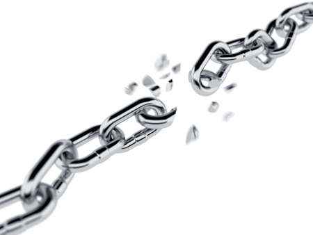 break: 3d render of broken chain isolated on white background Stock Photo
