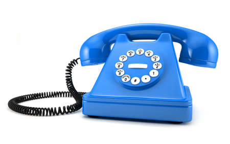 d illustration of blue old-fashioned phone on white background illustration