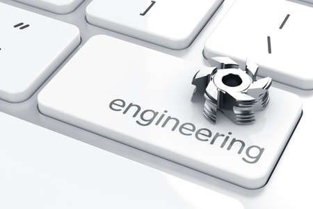 3d render of Enter button with milling cutter. Engineering concept Stock Photo